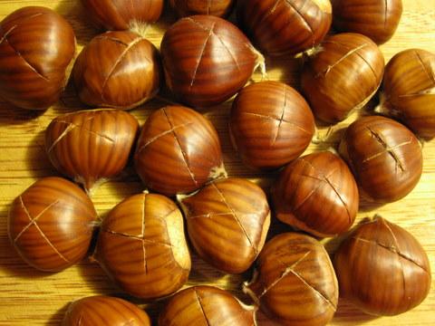 scored chestnuts