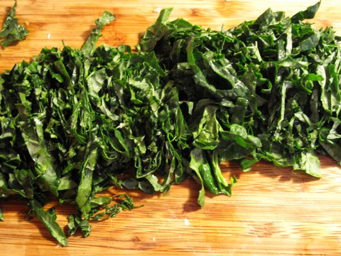 kale cut in slivers
