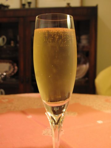 A glass of cava, the sparkling wine for celebrating New Year's Eve in Spain