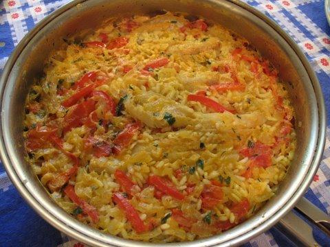 Spanish rice with salt cod (arroz con bacalao)