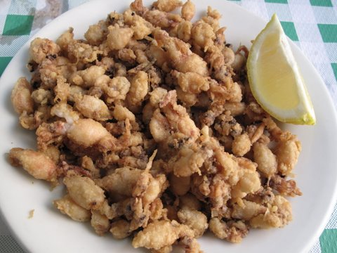 chopitos: a tapa of tiny fried cuttlefish at Luman, a neighborhood bar in Madrid