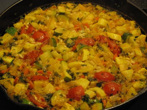 Easy summer squash paella, or arroz con calabacines