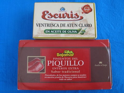 a tin of ventresca (albacore tuna belly fillets) and piquillo peppers