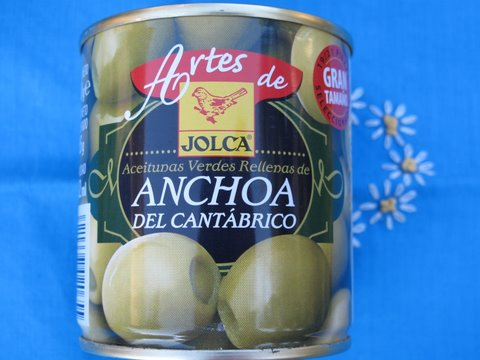 a tin of green olives stuffed with Cantabrian anchovy fillets