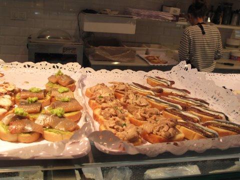 tapas in the Mercado de San Miguel