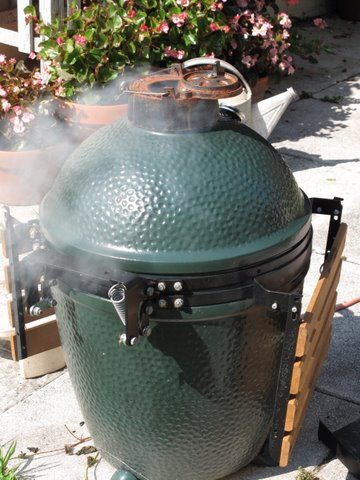 grilling asparagus on the Big Green Egg, Kamado