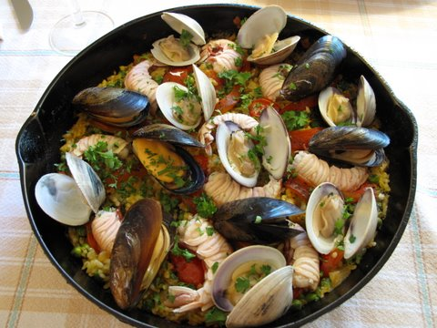 seafood paella, paella a la marinera, paella de mariscos, arroz con pescador, et cetera