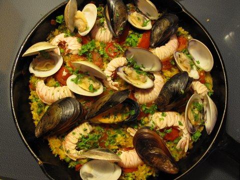 a seafood paella, paella de mariscos, arroz a la marinera, et cetera
