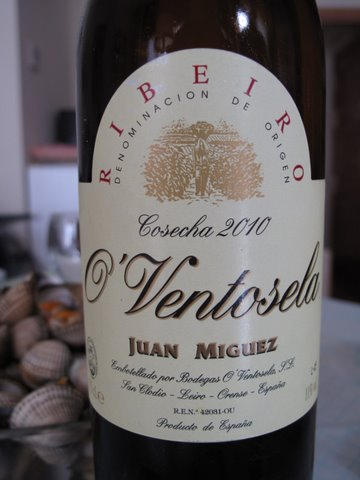 a bottle of ribeiro--an excellent wine for cockles, berberechos