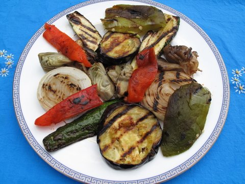 a dish of Spanish-style grilled vegetables