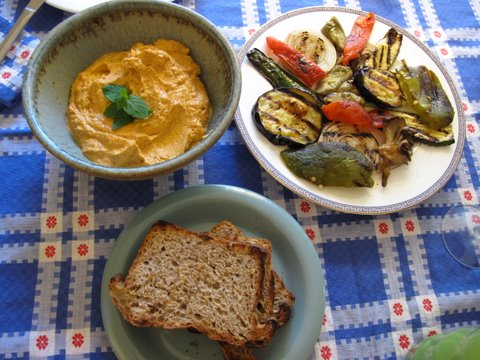 romesco with grilled vegetables and toast