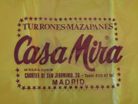 a bag from Casa Mira: the best place in Madrid to buy old fashioned Spanish candies and turrones