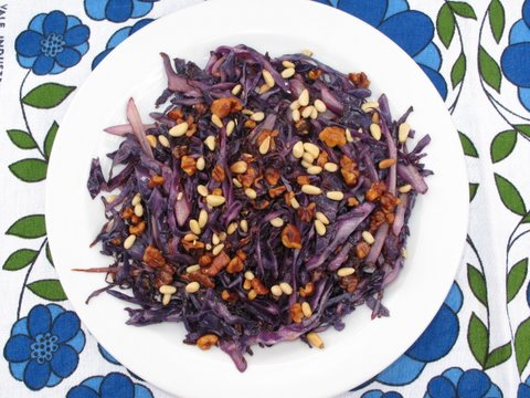 stir fried red cabbage, lombarda