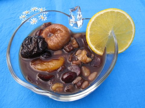 compote of dried fruits and nuts in Pedro Ximénez sherry
