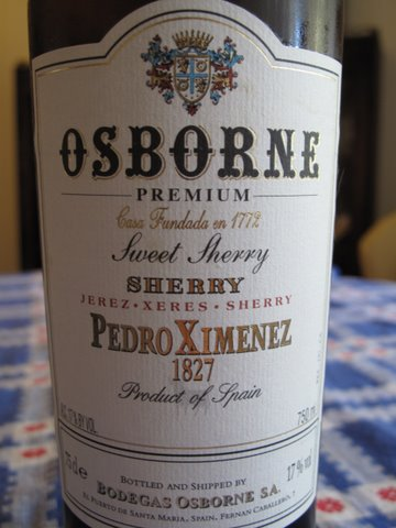 a bottle of Osborne Pedro Ximénez