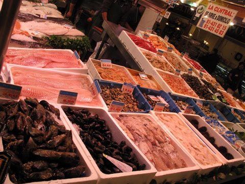 A scene from a Madrid fish market