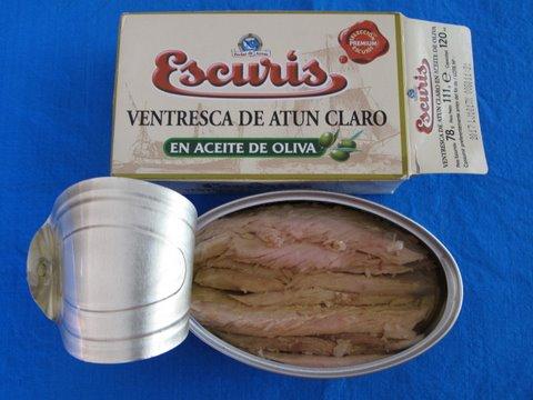 an open tin of ventresca (albacore tuna belly fillet)