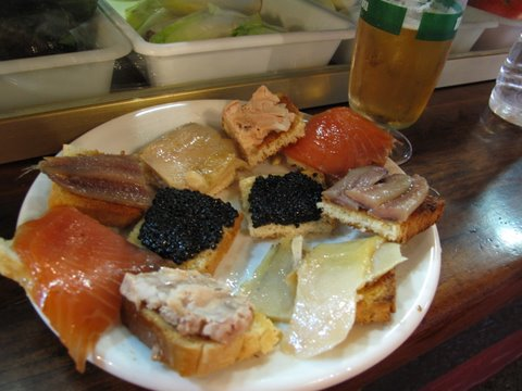 tapas of smoked fish