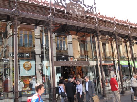 a view of the exterior of the Mercado de San Miguel in Madrid