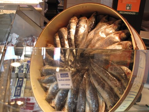 Salted sardines in the Mercado de San MIguel
