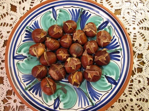 a plate of roasted chestnuts