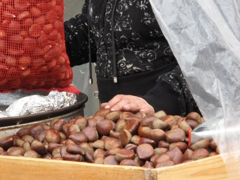 A castañera--a roasted chestnut vender--in Madrid