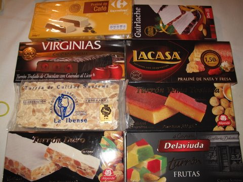 an assortment of turrones for the Christmas holidays and Kings' day, Día de Reyes