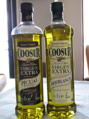 two Spanish olive oils: picual de Jaén and hojiblanca
