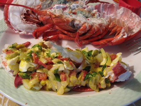a Spanish seafood salad: salpicón with boiled lobster