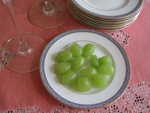 Twelve grapes, doce uvas, peeled to make them easier to eat fast