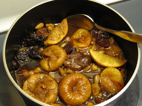 dried fuits and nuts simmering for compote, compota