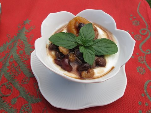a compote (compota) of dried fruits and nuts in Pedro Ximénez Sherry over yogurt
