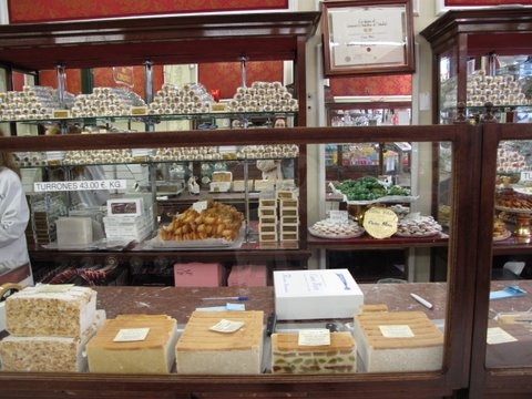 the counter, filled with turrones, at  Casa Mira, the old Madrid candy shop