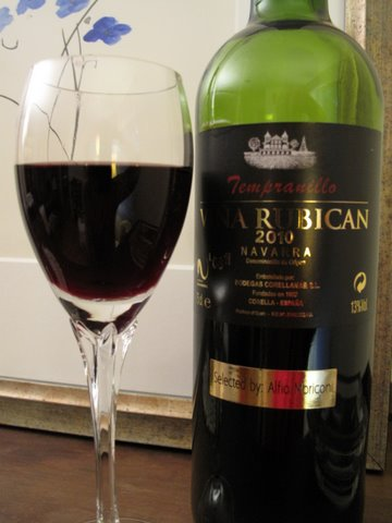 a glass of Viña Rubican 2010, a tempranillo from Navarra