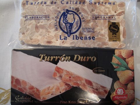 two brands of turrón duro