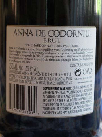 The label of a bottle of Anna de Codorníu, 70% chardonnay