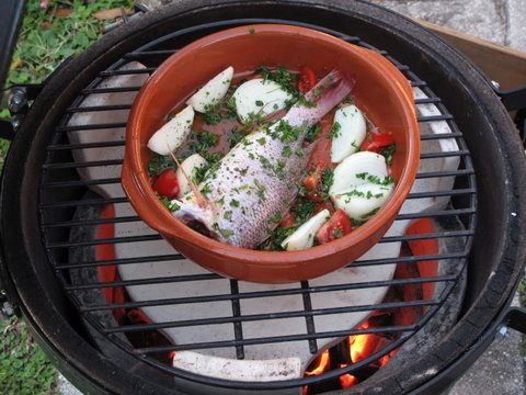 whole red snapper roasting in a kamado (Big Green Egg)