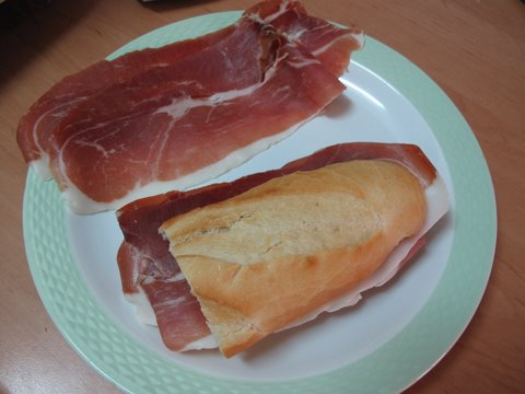 a completed bocadillo de jamón serrano, Spanish cured ham sandwich