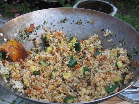 "stir frying a brown rice ""paella"""
