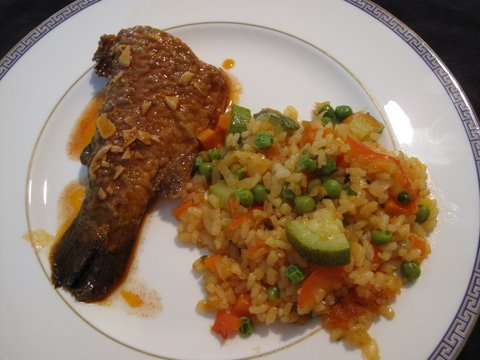 trout in escabeche with vegetable paella