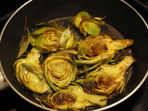 pan frying artichokes