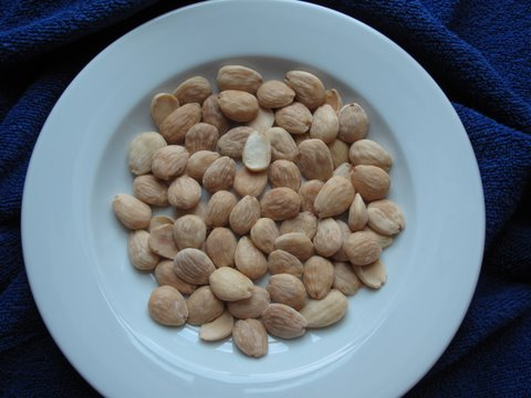 a plate of toasted marcona almonds from the tienda de frutos secos