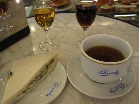 sweet wines (moscatel and Madeira) with savory tapas at Lhardy