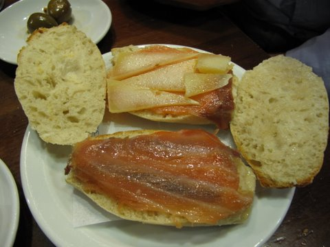 small sandwiches of smoked fish and manchego cheese, bocadillos de queso manchego y ahumados