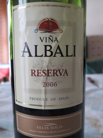 a simple Spanish red wine, a Valdepeñas