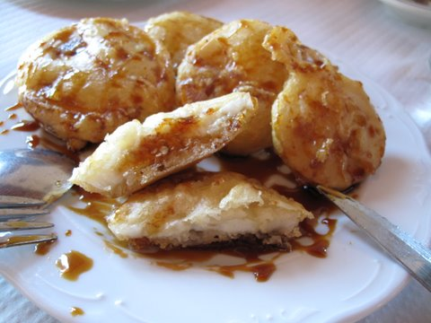 "fried white eggplant with ""cane honey,"" berenjena blanca frita con miel de caña"