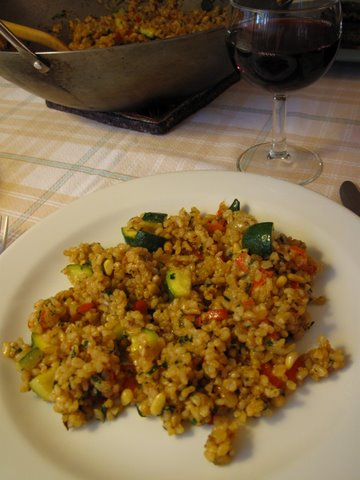 """a brown rice vegetable """"paella"""" with wine"""