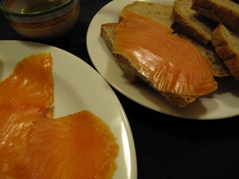 smoked salmon, olive oil, and bread: an instant tapa
