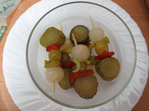 banderillas, Spanish pickled vegetables on skewers