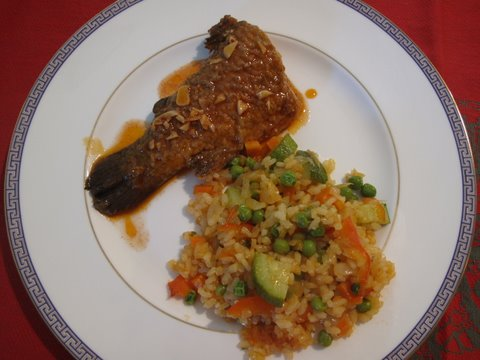 trout in escabeche with summer squash paella